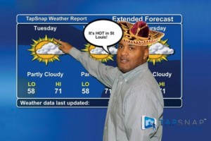 TapSnap 1151 owner, Tony Williams, pretending to be a weatherman by posing in front of a green screen background of the weather channel
